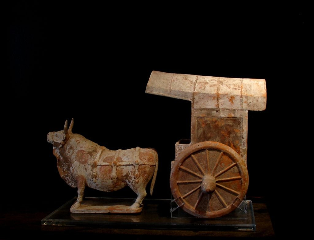 Northern Qi Dynasty Pottery Model Of An Ox And Cart For