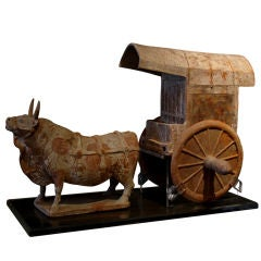 Northern Qi Dynasty Pottery Model of an Ox and Cart