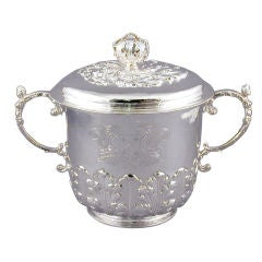 James II Period Sterling Silver Porringer & Cover
