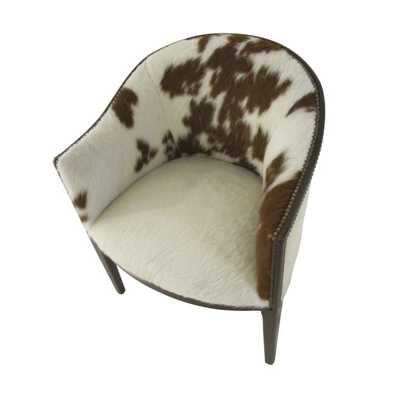 Pair Of Arched Back Chairs Upholstered In Cowhide At 1stdibs