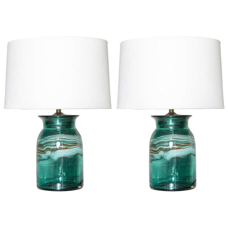 a pair of aqua murano glass table lamps at 1stdibs. Black Bedroom Furniture Sets. Home Design Ideas
