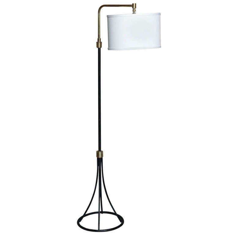mid century wrought iron floor lamp at 1stdibs. Black Bedroom Furniture Sets. Home Design Ideas