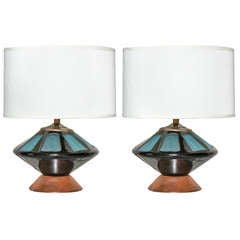 Pair of Onyx and Turqoise Murano Glass Table Lamps