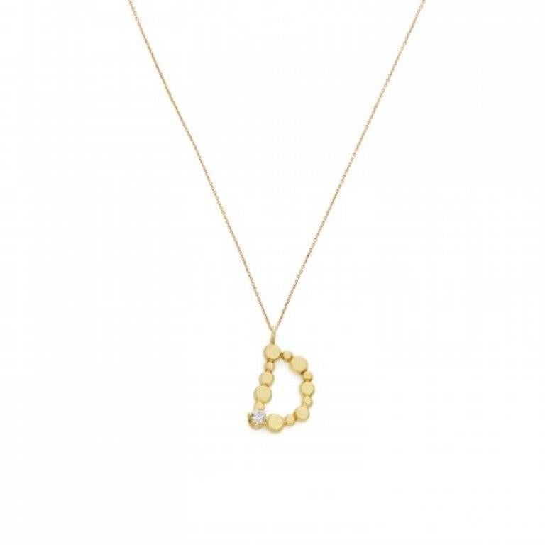 Sweet Pea Initial Letter Diamond and 18k Yellow Gold Letter 'D' Charm Necklace For Sale