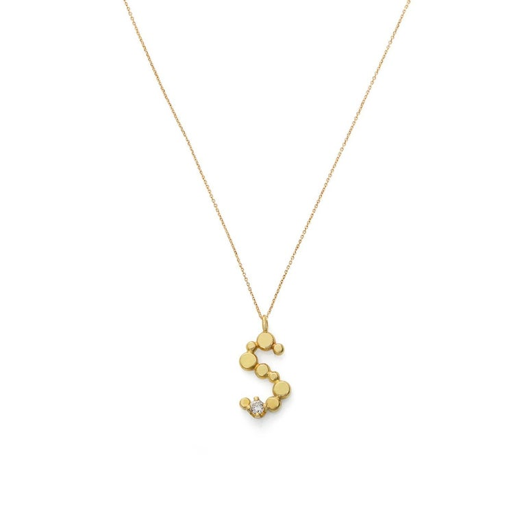 Sweet Pea Initial Letter Diamond and 18k Yellow Gold Letter 'S' Charm Necklace For Sale