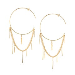 Sweet Pea Sycamore 18k Yellow Gold Large Hoop Earrings With Layered Chains