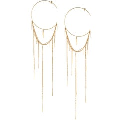 Sweet Pea Sycamore 18k Yellow Gold Extra Long Hoop Earrings With Long Chains