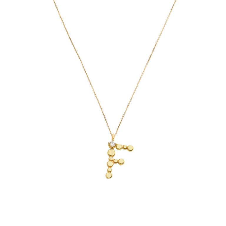 Sweet Pea Initial Letter Diamond and 18k Yellow Gold Letter 'F' Charm Necklace For Sale