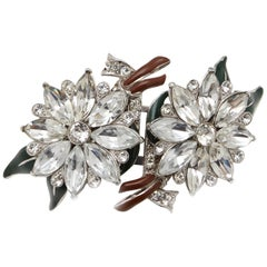 Coro Large Vintage Floral Duette Fur Clips Enamel set with Rhinestones Brooch
