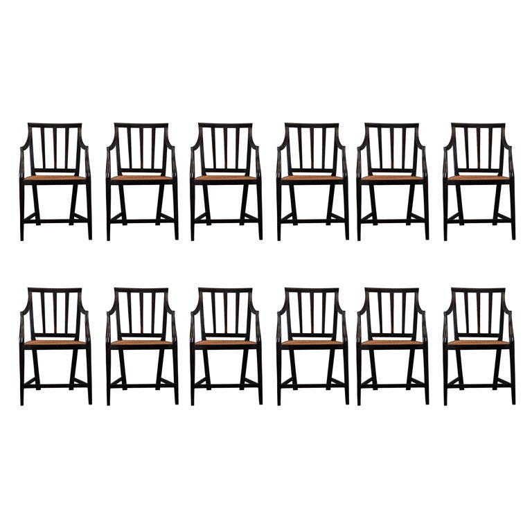 A set of 12 chairs in solid ebony at 1stdibs