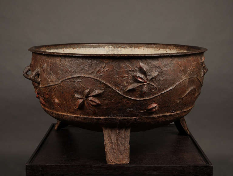 A chinese cast iron cauldron image