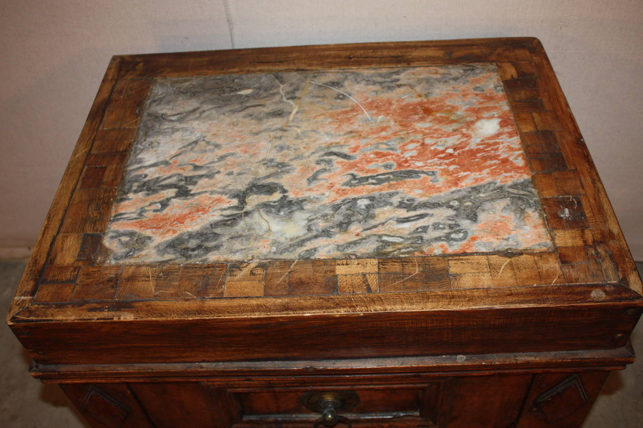 French Marble Top Butcher Block At 1stdibs