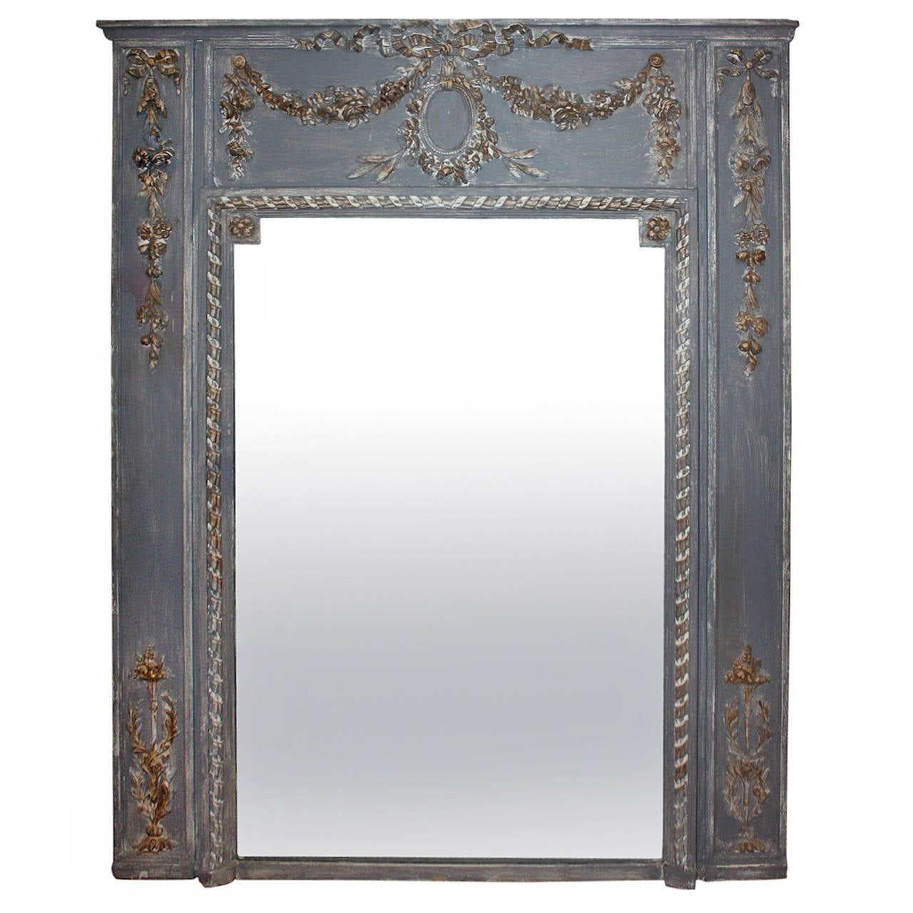 french painted trumeau mirror at 1stdibs. Black Bedroom Furniture Sets. Home Design Ideas