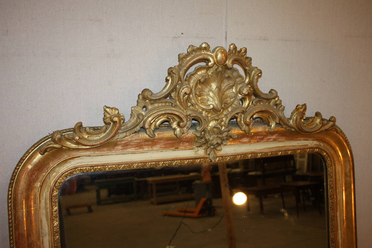 Gilded French Mirror With Cartouche At 1stdibs