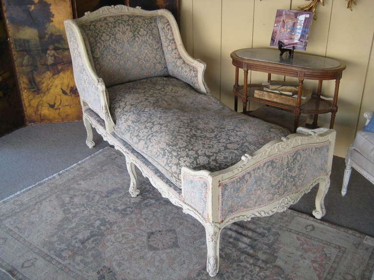 Mid 19th century painted french chaise lounge at 1stdibs for 19th century chaise lounge
