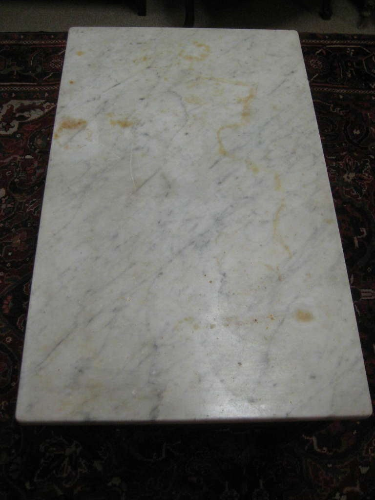 19th Century French Butcher Block Coffee Table With Marble Top At 1stdibs