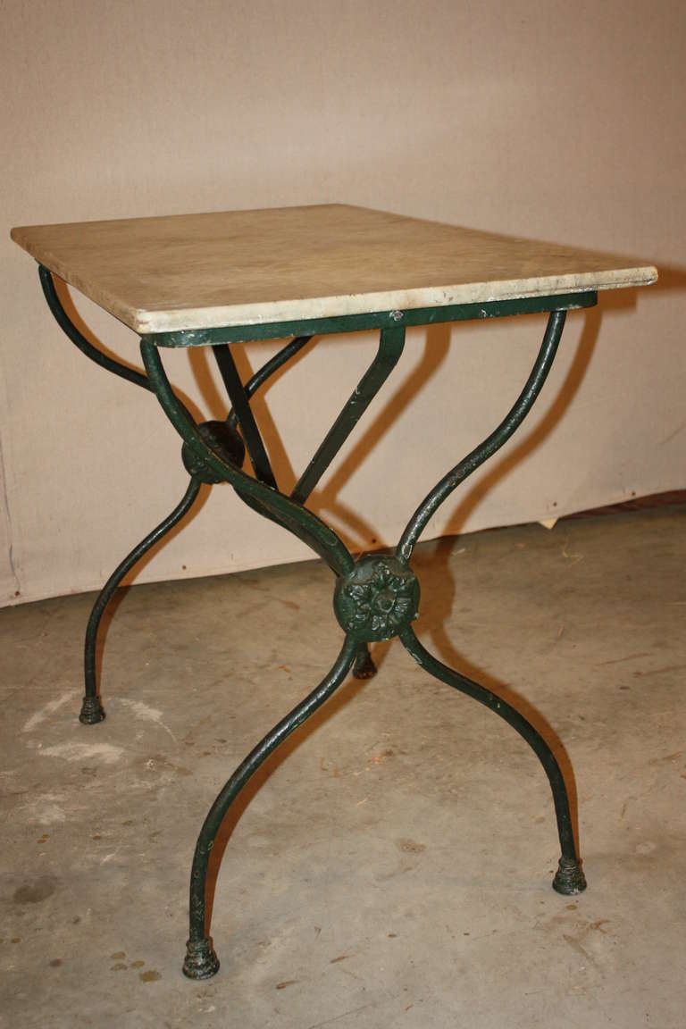 French Antique Marble Top Bistro Table At 1stdibs