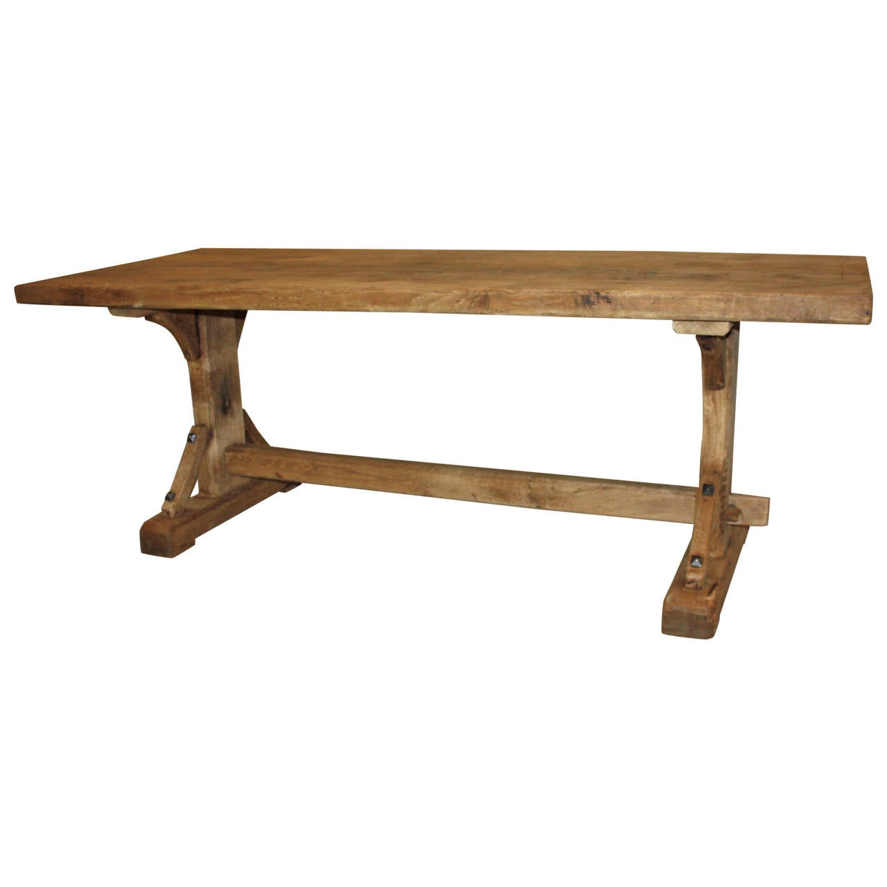 Th century french oak trestle table at stdibs
