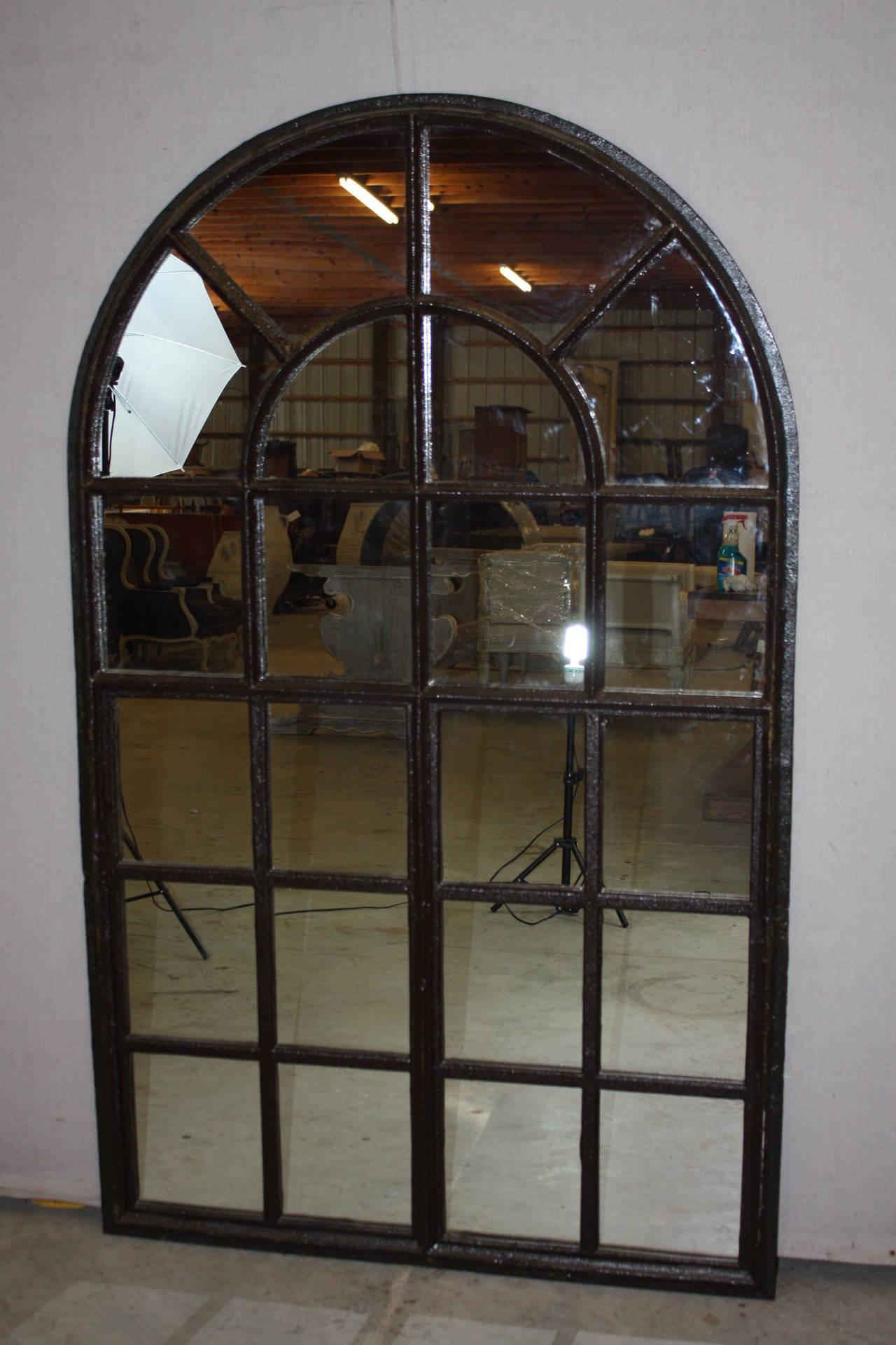 Czech Iron Window Frame Mirror For