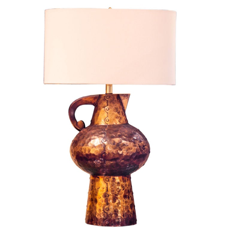 Fun 1960s Faux Metal Table Lamp At 1stdibs