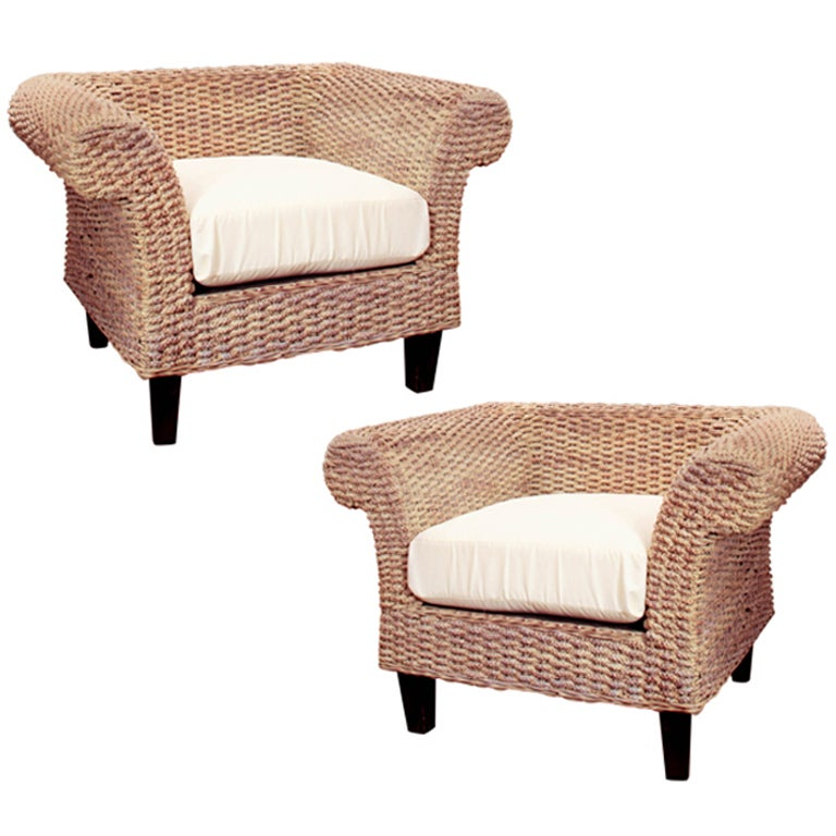 Pair of Woven Seagrass Club Chairs at 1stdibs