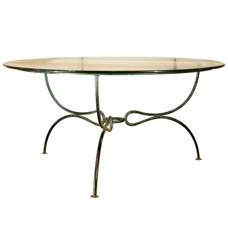 Elegant 1950s Wrought Iron Outdoor Table With Glass Top At 1stdibs