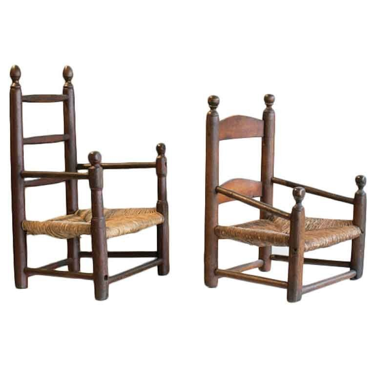 Two Antique Childu0026#39;s Ladderback Chairs with Original Rush Seats at 1stdibs