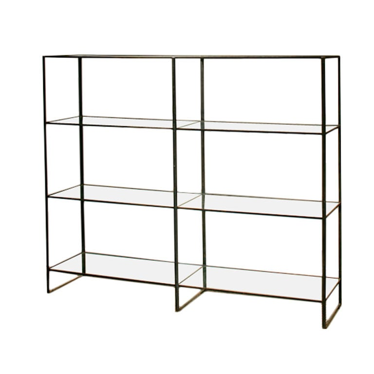 Chic 1970s Wrought Iron Etagere With Glass Shelves At 1stdibs