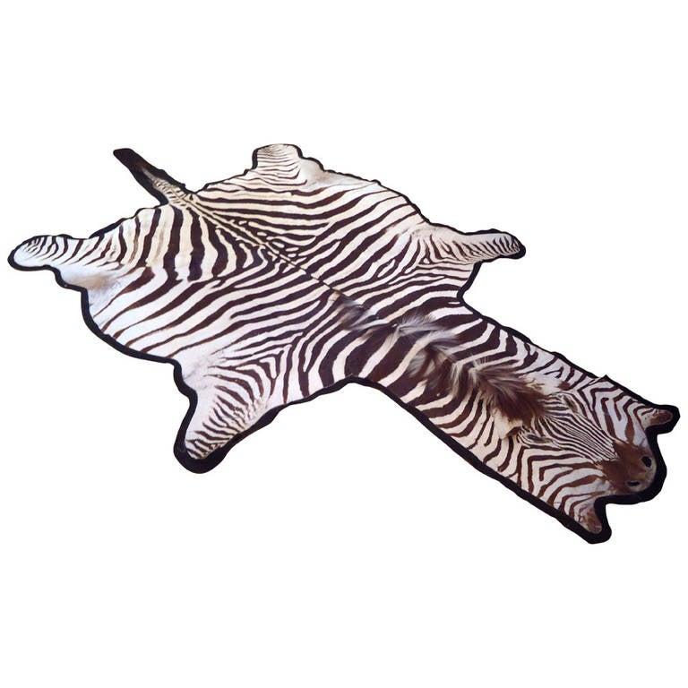 Striking Vintage Zebra Rug At 1stdibs