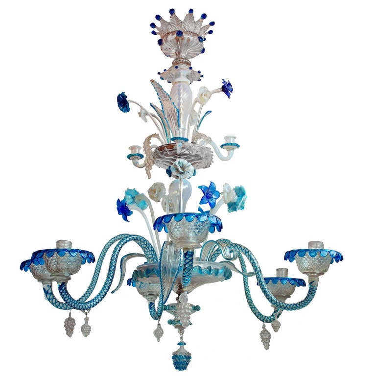19th C Murano Blue And Clear Glass Chandelier At 1stdibs