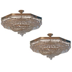 A Large Pair of Selfridge`s Hotel Chandeliers Circa 1960's