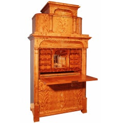 An Architectural North German Birchwood Biedermeier Secretaire Circa 1830