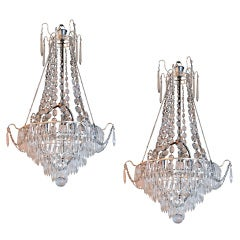 A Pair of Gustavian Style Cut Glass Chandeliers Circa 1920's