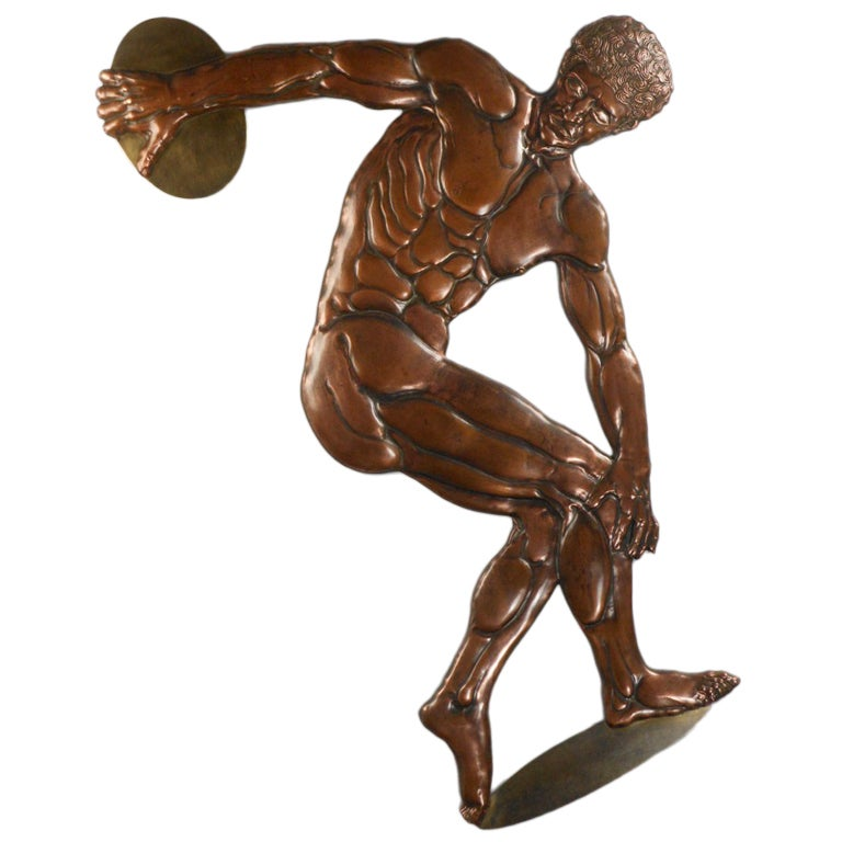 Art Deco Patinated Bronze Relief of the Discus Thrower