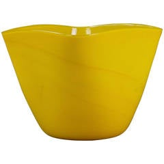 Murano Yellow Glass Vase with Gold Inclusions