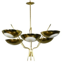 An American Brass and Lacquer Chandelier by Lightolier