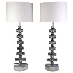 Italian Pair of 1970s Steel and Marble Floor Lamps