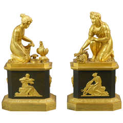 French Empire Gilt Bronze Figures