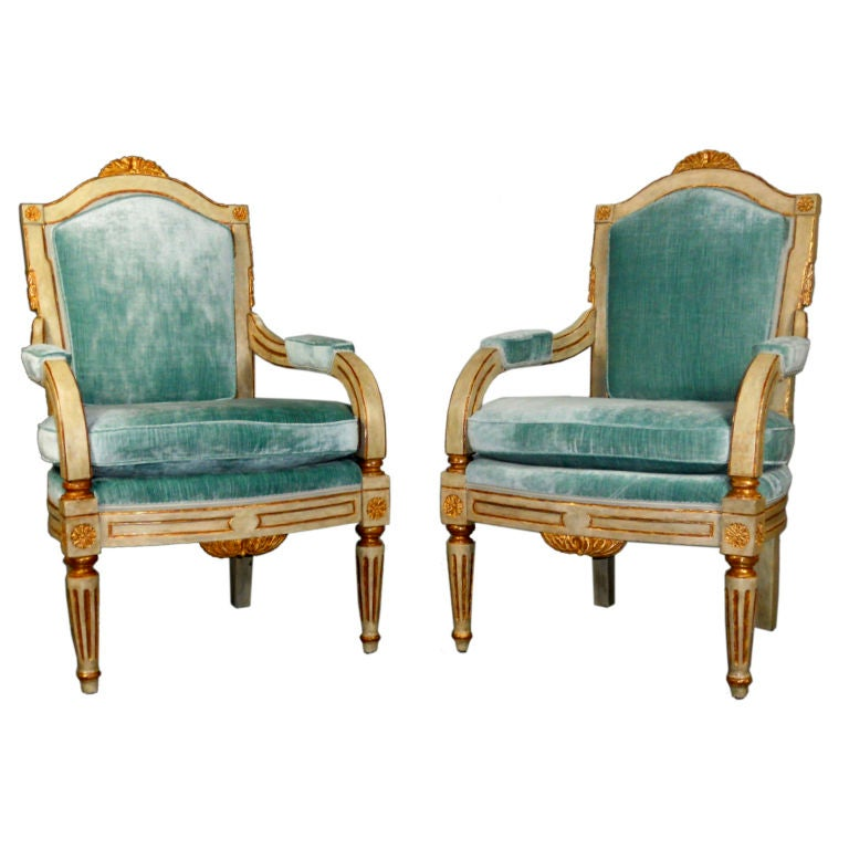 A Pair Of Period French Chairs With Missoni Fabric At 1stdibs: Pair Of Italian Neoclassical Painted And Parcel Gilt