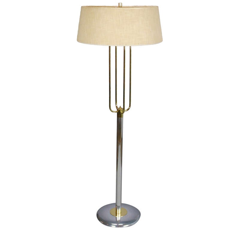 mid century modern american steel and brass floor lamp for. Black Bedroom Furniture Sets. Home Design Ideas
