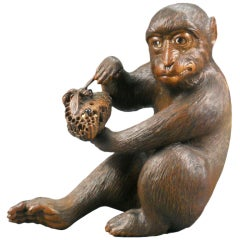 Japanese Carved and Painted Wooden Monkey