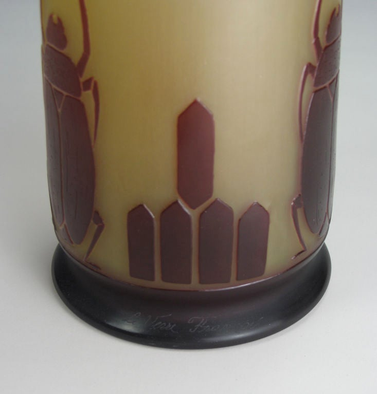 art deco acid etched cameo glass vase by le verre fran ais. Black Bedroom Furniture Sets. Home Design Ideas