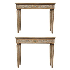 Italian Neoclassical Pair of Painted Console Tables with Siena Marble Tops