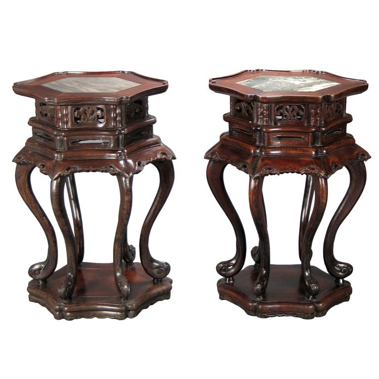 Chinese Pair of Hardwood Tables with Inset Marble Tops