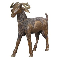 Italian Carved and Painted Sculpture of a Ram
