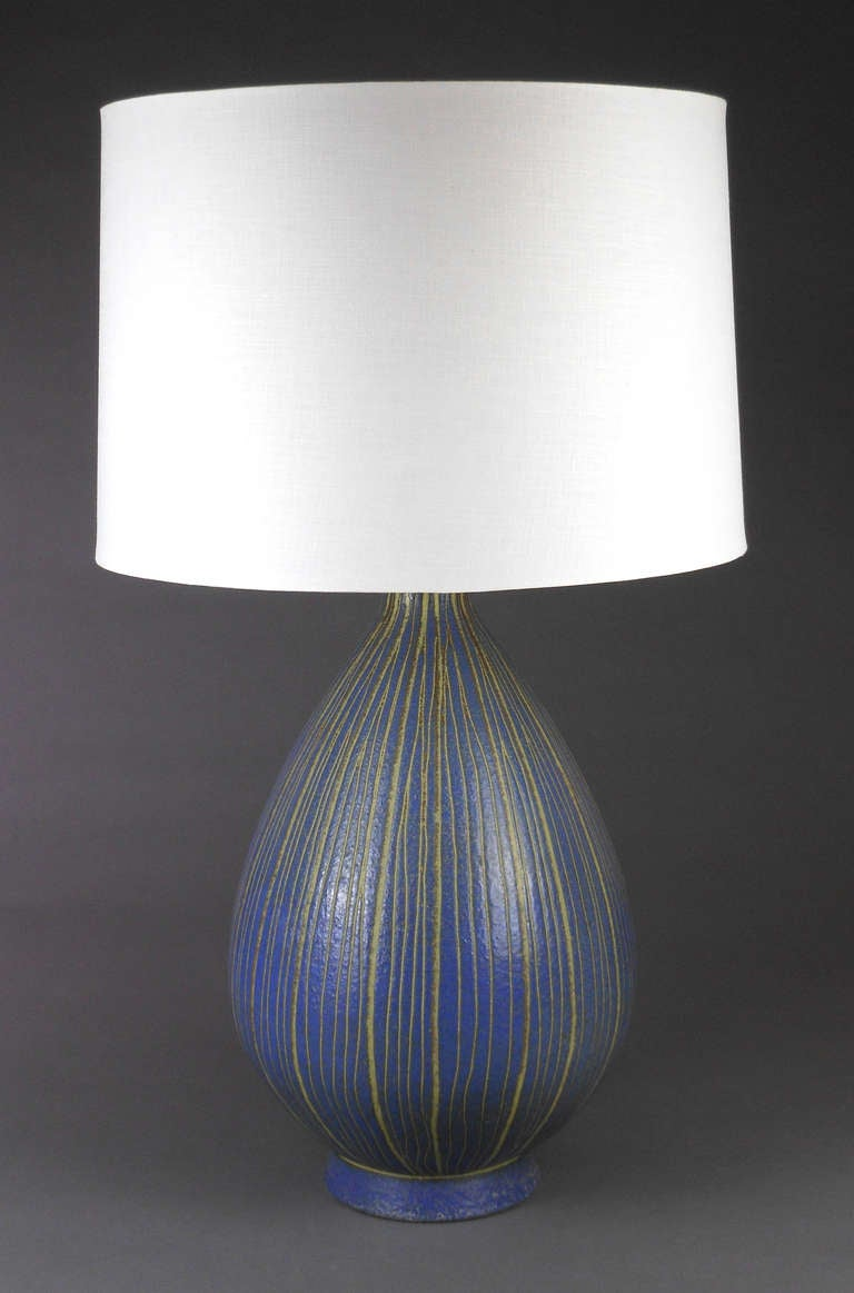 A Pair Of Italian Blue And Celadon Studio Pottery Lamps At