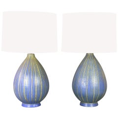 A Pair of Italian Blue and Celadon Studio Pottery Lamps