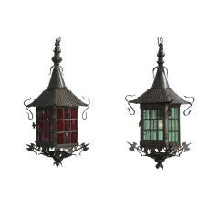 Pair of Swedish Patinated Bronze and Colored Glass Lanterns