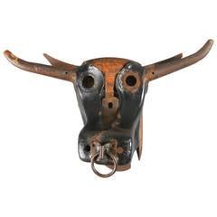 Metal Sculpture of a Bull's Head by Jim Hamm
