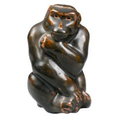 A Danish Modern Glazed Stoneware Sculpture of a Monkey